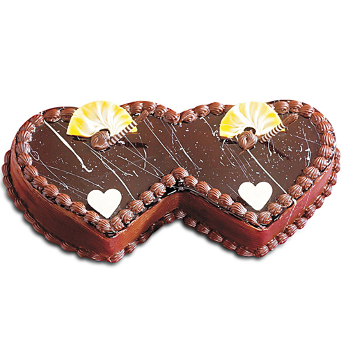 Double Heart Shaped Cake for Anniversary