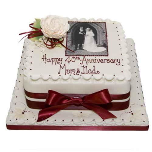 40th Anniversary Photo Cake