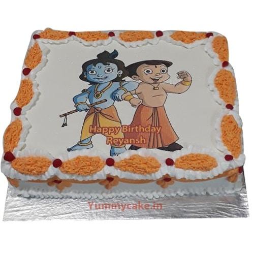 Chota Bheem and Krishna Photo Cake