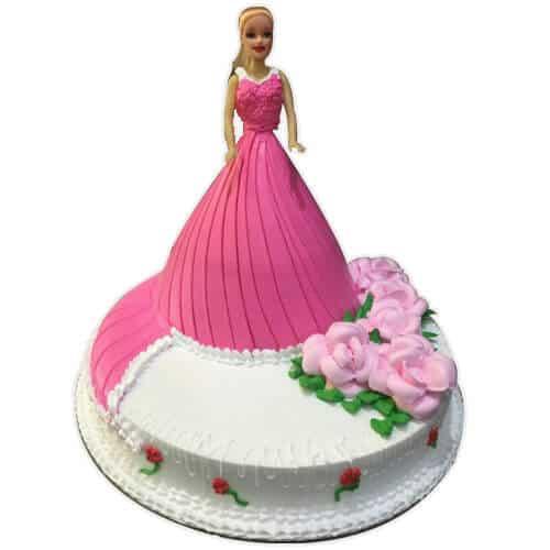 Pink Barbie Doll Cake Design For Girl Doorstep Cake