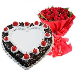 Black Forest Cake With 12  Roses