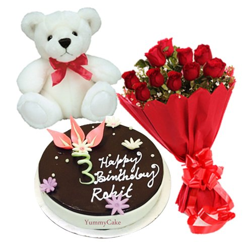 Chocolate Cake with 12 Red Roses, Teddy Bear