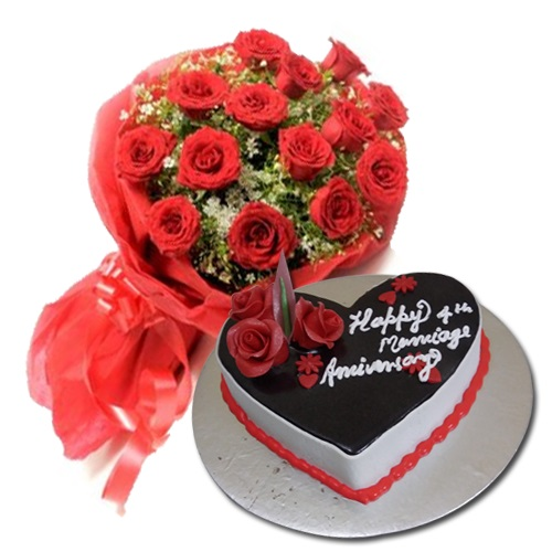 Chocolate Truffle Eggless Cake With 10 Red Rose Bunch