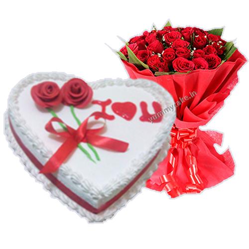 1/2 Kg Heart Shape Vanilla Cake with 20 Mix Roses