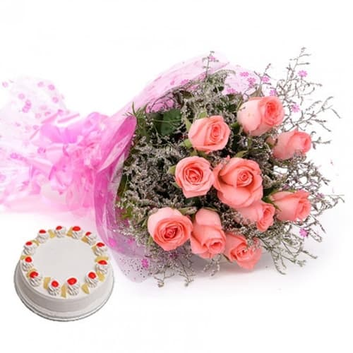 Pink Roses With Pineapple cake