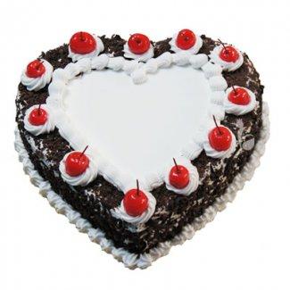 Black Forest Heart Shape Cake 1Kg