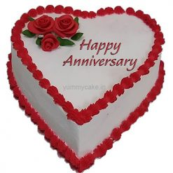 Anniversary Heart Shaped Cake