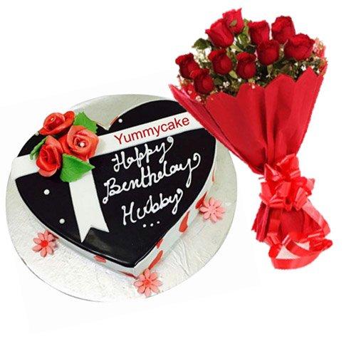 Heart Shaped Birthday cake Combo Offer