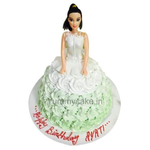 Floral Roses Barbie Doll Cake