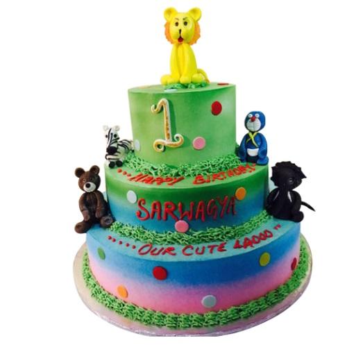 Animal Theme Kids Birthday Cake