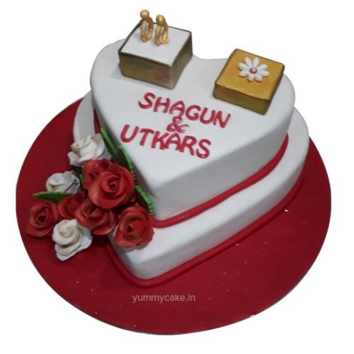 1st Anniversary Heart Shaped Cake