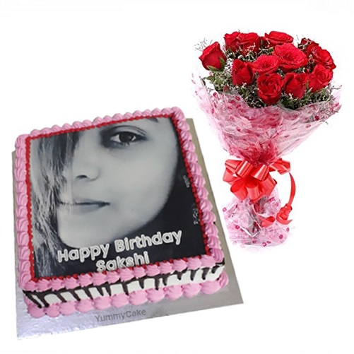 Photo Cake With Flowers
