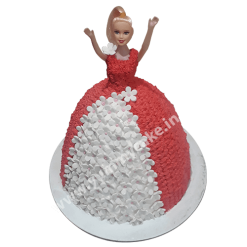 Read & White Barbie Doll Cake