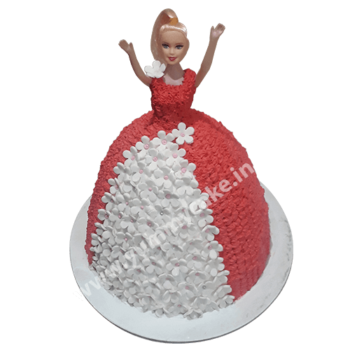 Red & White Barbie Doll Cake