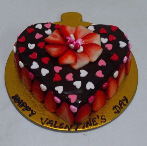 Heart Shaped Chocolate Strawberry Cake