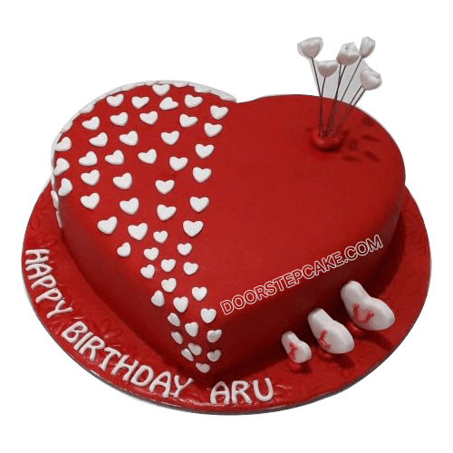 Heart Shaped Birthday Cake for Husband