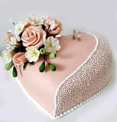 Homemade heart shaped cake