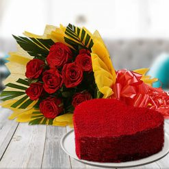 Red Velvet Cake with Flowers