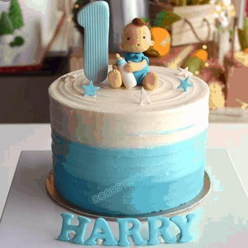 Incredible Birthday Cake For Baby Boy 1 Year Doorstep Cake Funny Birthday Cards Online Alyptdamsfinfo